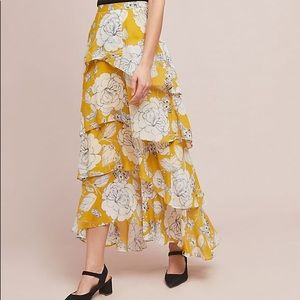 Anthropologie Yellow floral tiered maxi skirt